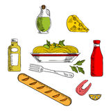 Italian pasta food with ingredients Stock Photography