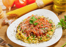 Italian pasta. Food, Pasta with sauce, ingredients on background Royalty Free Stock Photography