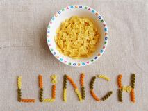 Italian Pasta For Kids Lunch Stock Images