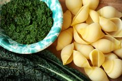 Italian pasta with fresh kale pesto Stock Photography