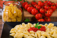 Italian pasta with fresh tomato sauce and parsley Royalty Free Stock Image