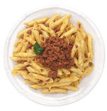 Italian pasta , fusilli with meat sauce royalty free stock image