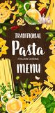 Italian pasta and green seasonings menu. Pasta cuisine dish menu. Vector italian spaghetti and fettuccine, farfalle and fusilli, lasagna and conchiglie, orzo and vector illustration