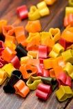 Italian pasta hearts shaped Stock Photos