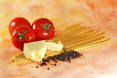 Italian pasta ingredients Royalty Free Stock Image