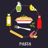 Italian pasta with ingredients flat infographic Stock Photos
