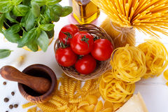 Italian pasta ingredients Royalty Free Stock Photos