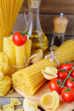 Italian pasta and ingredients Stock Photography