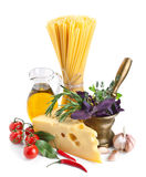 Italian pasta ingredients  on white Royalty Free Stock Photography