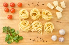 Italian pasta with ingredients Royalty Free Stock Photography