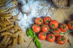 Italian pasta with integral flour on vintage table Stock Image