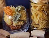 Italian pasta in many shape and colors Stock Photos