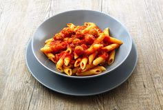 Italian pasta with meat sauce Royalty Free Stock Photo