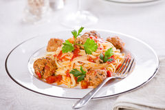 Italian Pasta With Meatballs Stock Photos