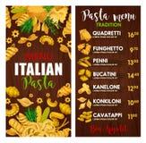 Pasta menu, Italian cuisine meals. Italian pasta menu, cuisine of Italy. Vector quadretti and funghetto, penni and bucatini, kanelone and konkiloni, cavatappi stock illustration