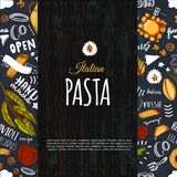 Italian pasta menu design for restaurant and cafe. Template with sketch hand drawn spaghetti pattern on dark chalkboard.  Royalty Free Stock Images