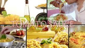 Italian pasta montage stock footage