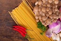 Italian pasta and mushroom sauce ingredients Stock Photography