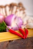 Italian pasta and mushroom sauce ingredients Royalty Free Stock Photo