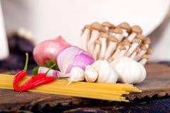 Italian pasta and mushroom sauce ingredients Royalty Free Stock Image