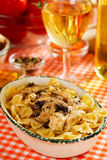 Italian pasta with mushrooms and chicken meat. Italian farfalle pasta with champignon mushrooms and chicken meat Stock Photography