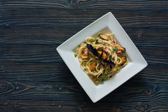 Italian pasta with mussels Royalty Free Stock Photo