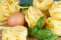 Italian pasta nests with basil and egg. Italian pasta nest with egg and basil Stock Images