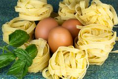 Italian pasta nests with basil and egg. Italian pasta nest with egg and basil Royalty Free Stock Photography