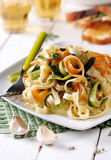 Italian pasta noodles with assorted vegetables Stock Photo