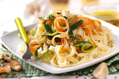 Italian pasta noodles with assorted vegetables Stock Photos