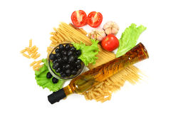 Italian Pasta with olives, paprika and basil Royalty Free Stock Photography