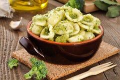 Italian pasta, orecchiette with broccoli in the bo Stock Image
