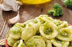 Italian pasta, orecchiette with broccoli, closeup Royalty Free Stock Images