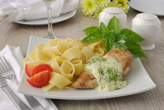 Italian pasta - Pappardelle with chicken and cream sauce Stock Images