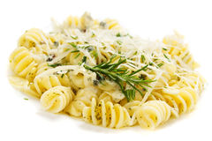 Italian pasta with parmesan cheese Royalty Free Stock Photography
