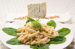 Italian pasta penne gorgonzola and pine nuts Royalty Free Stock Photography