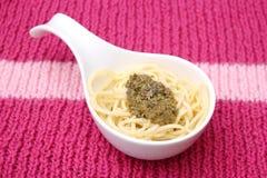 Italian Pasta with pesto Stock Photos