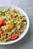 Italian pasta with pesto. Food close-up Stock Image