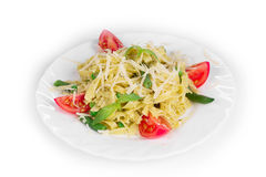 Italian pasta with pesto Royalty Free Stock Photo