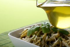 Italian pasta with pesto sause Royalty Free Stock Image