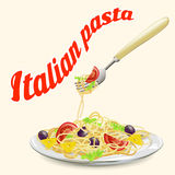 Italian pasta on a plate with a fork Stock Images