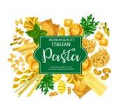 Italian pasta poster with macaroni food and herb. Italian pasta poster with macaroni and fresh herb. Spaghetti, penne and farfalle, ravioli, lasagna and vector illustration