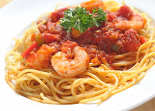 Italian pasta - prawn spaghetti Stock Photo