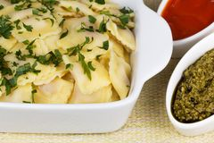 Italian pasta, ravioli with parsley and sauces. Italian pasta, ravioli with parsley, pesto sauce and tomato sauce Royalty Free Stock Images