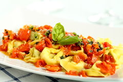 Ravioli with tomato sauce and basil Stock Images