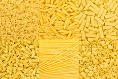 Italian Pasta raw food collection background texture. Spaghetti Stock Image