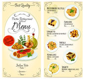 Italian pasta restaurant menu card template Stock Images