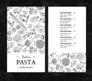 Italian pasta restaurant vector menu. Hand drawn engraved banner. Great for banner, flyer, card, Royalty Free Stock Photography