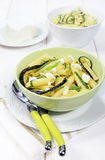 Italian pasta with ricotta and fried zucchini Stock Image