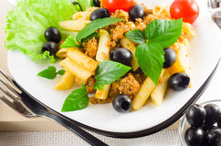 Italian pasta rigatoni with bolognese, beef and olives Royalty Free Stock Photography